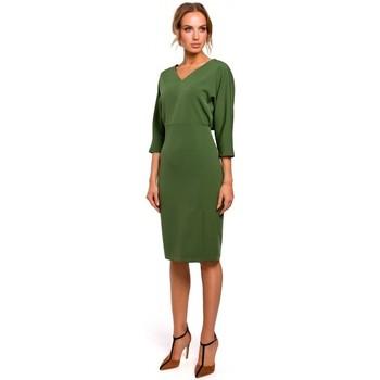 tekstylia Damskie Sukienki krótkie Moe M464 Batwing sleeve dress - green