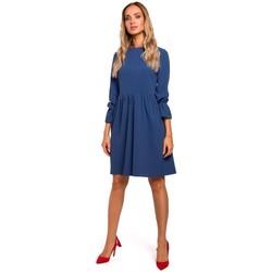 tekstylia Damskie Sukienki krótkie Moe M465 Sukienka shiftingowa z reglanowymi rękawami - niebieska