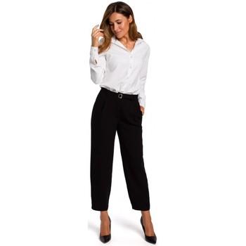 tekstylia Damskie Koszule Style S192 Long-sleeved shirt with a collar - white