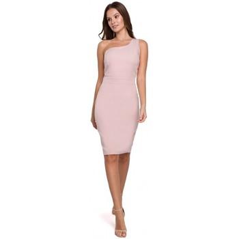 tekstylia Damskie Sukienki krótkie Makover K003 Sukienka sheath z dekoltem na jedno ramię - krepa różowa
