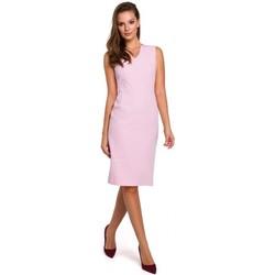 tekstylia Damskie Sukienki krótkie Makover K004 Sukienka ołówkowa z dekoltem v-neck - czerwona
