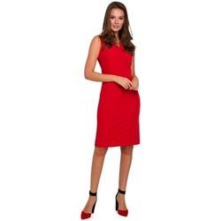tekstylia Damskie Sukienki krótkie Makover K004 Pencil dress with a v-neck - red