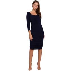 tekstylia Damskie Sukienki krótkie Makover K006 Knit dress with ruched detailing - navy blue