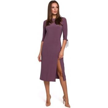 tekstylia Damskie Sukienki krótkie Makover K007 Dzianinowa sukienka z wiązanymi rękawami - wrzosowa