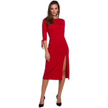tekstylia Damskie Sukienki krótkie Makover K007 Knit dress with tied sleeves - red
