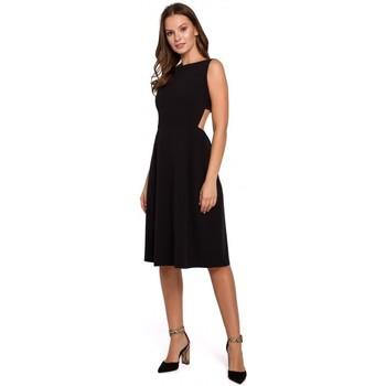 tekstylia Damskie Sukienki Makover K011 Sukienka z odkrytymi plecami - czarna
