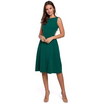 tekstylia Damskie Sukienki krótkie Makover K011 Open back flared dress - green