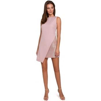 tekstylia Damskie Sukienki Makover K014 Sukienka mini z asymetrycznym obszyciem - krepa różowa