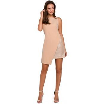 tekstylia Damskie Sukienki krótkie Makover K014 Sukienka mini z asymetrycznym obszyciem - beżowa