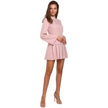 tekstylia Damskie Sukienki krótkie Makover K021 Sukienka mini z plisowanym dołem - krepa różowa