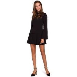 tekstylia Damskie Sukienki krótkie Makover K021 Sukienka mini z plisowanym dołem - czarna