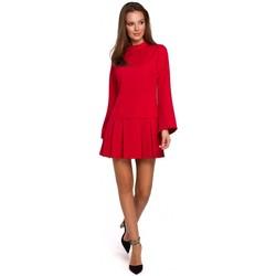 tekstylia Damskie Sukienki krótkie Makover K021 Mini dress with pleaded bottom hem - red