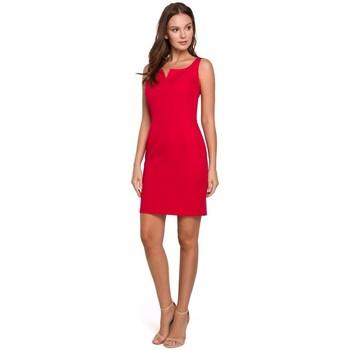 tekstylia Damskie Sukienki krótkie Makover K022 Sukienka mini z kwadratowym dekoltem - czerwona