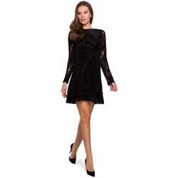 tekstylia Damskie Sukienki Makover K023 Sukienka z koronki Flock - czarna