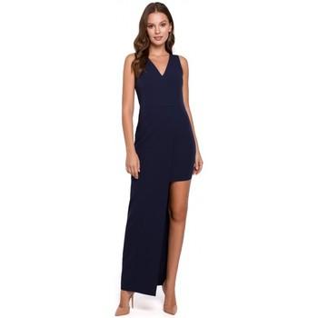 tekstylia Damskie Sukienki długie Makover K026 Długa asymetryczna sukienka - granatowy