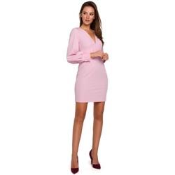 tekstylia Damskie Sukienki krótkie Makover K027 Sukienka mini z bufiastymi rękawami - liliowy
