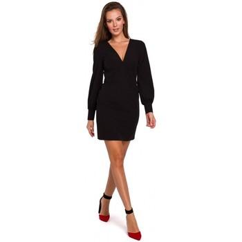 tekstylia Damskie Sukienki krótkie Makover K027 Puff sleeves mini dress - black