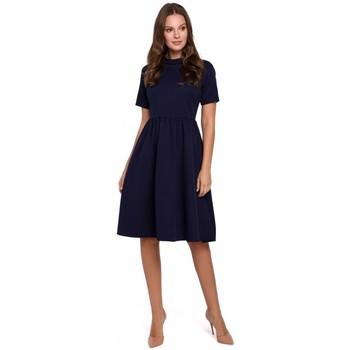tekstylia Damskie Sukienki krótkie Makover K028 Sukienka z wywijanym dekoltem - głęboki niebieski