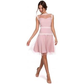 tekstylia Damskie Sukienki Makover K030 Sukienka tiulowa w kropki - pudrowa