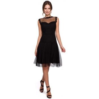 tekstylia Damskie Sukienki krótkie Makover K030 Sukienka tiulowa w kropki - czarna