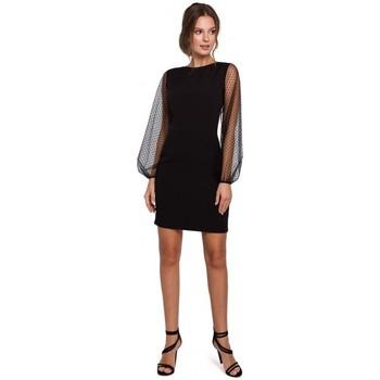 tekstylia Damskie Sukienki krótkie Makover K032 Sukienka mini z tiulowymi rękawami - czarna