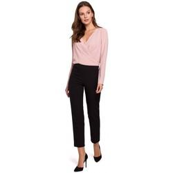 tekstylia Damskie Spodnie Makover K035 Trousers with elasticized waistband - black