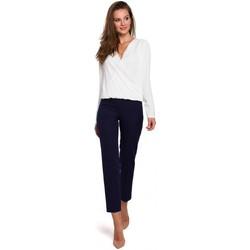 tekstylia Damskie Spodnie Makover K035 Trousers with elasticized waistband - deep blue