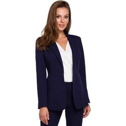 tekstylia Damskie Marynarki Makover K036 Single buttom blazer - deep blue