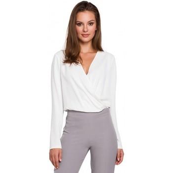 tekstylia Damskie Topy / Bluzki Makover K037 Wrap front blouse - ecru