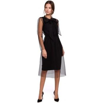 tekstylia Damskie Sukienki Makover K039 Tulee dress with tied neckline - black