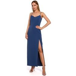 tekstylia Damskie Sukienki długie Moe M485 Maxi sukienka wieczorowa z wysokim stanem - niebieska