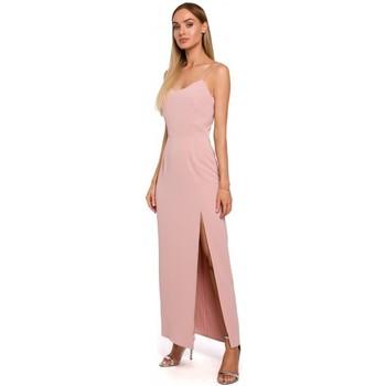 tekstylia Damskie Sukienki Moe M485 Maxi sukienka wieczorowa z wysokim stanem - pudrowy