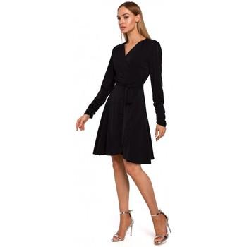 tekstylia Damskie Sukienki krótkie Moe M487 Wrap dress with gathered sleeves - black