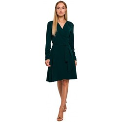 tekstylia Damskie Sukienki krótkie Moe M487 Sukienka wrap z zebranymi rękawami - zielona