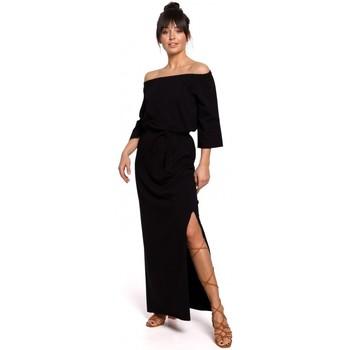 tekstylia Damskie Sukienki Be B146 Off- shoulder maxi dress - black
