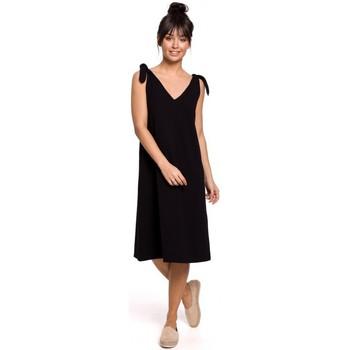 tekstylia Damskie Sukienki krótkie Be B148 Sukienka trapezowa z wiązanymi paskami - czarna