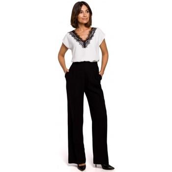 tekstylia Damskie Chinos Style S203 Spodnie palazzo z elastyczną talią - czarne