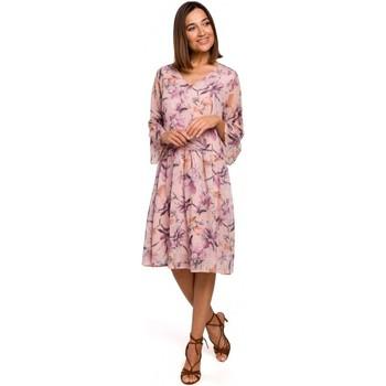 tekstylia Damskie Sukienki krótkie Style S214 Szyfonowa sukienka z opadającą talią - model 2