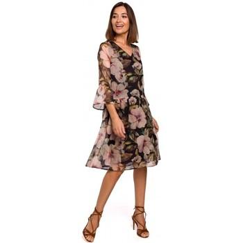 tekstylia Damskie Sukienki krótkie Style S214 Szyfonowa sukienka z opadającą talią - model 3