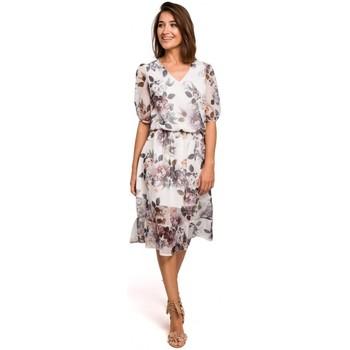 tekstylia Damskie Sukienki Style S215 Chiffon dress with ruffled hem - model 1