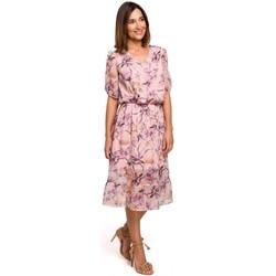 tekstylia Damskie Sukienki Style S215 Chiffon dress with ruffled hem - model 2