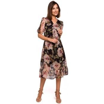 tekstylia Damskie Sukienki Style S215 Chiffon dress with ruffled hem - model 3