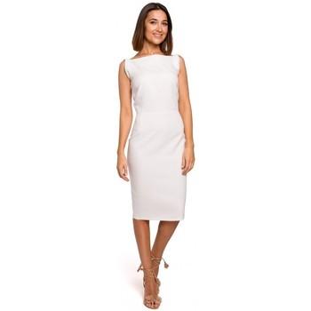 tekstylia Damskie Sukienki krótkie Style S216 Sukienka ołówkowa bez rękawów - ecru