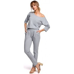 tekstylia Damskie Kombinezony / Ogrodniczki Moe M497 Dolman sleeve jumpsuit - dove grey