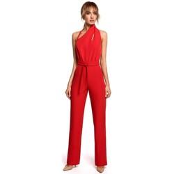 tekstylia Damskie Kombinezony / Ogrodniczki Moe M502 Elegant jumpsuit with asymmetric neckline - red