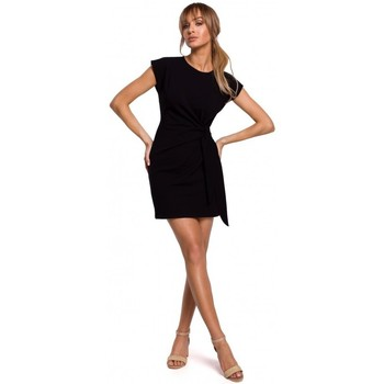 tekstylia Damskie Sukienki krótkie Moe M508 Mini dress with a knot - black