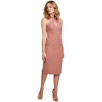 tekstylia Damskie Sukienki krótkie Makover K043 Tie neck dress - rose