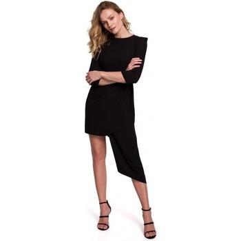 tekstylia Damskie Sukienki krótkie Makover K047 Sukienka asymetryczna - czarna