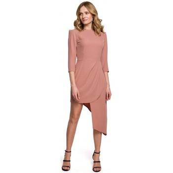 tekstylia Damskie Sukienki krótkie Makover K047 Asymmetric sheath dress - rose