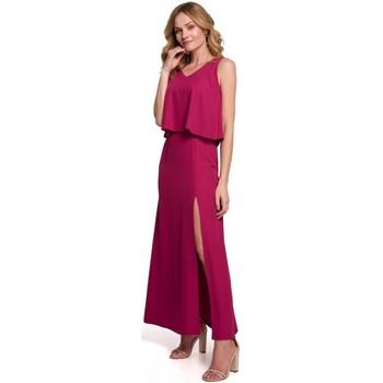 tekstylia Damskie Sukienki długie Makover K048 Maxi dress with frill top - plum